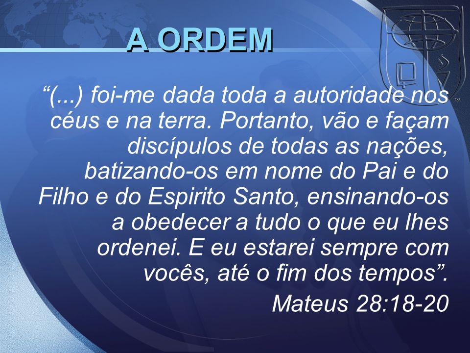 (...) foi-me dada toda a autoridade nos céus e na terra. Portanto, vão e façam discípulos de todas as nações, batizando-os em nome do Pai e do Filho e
