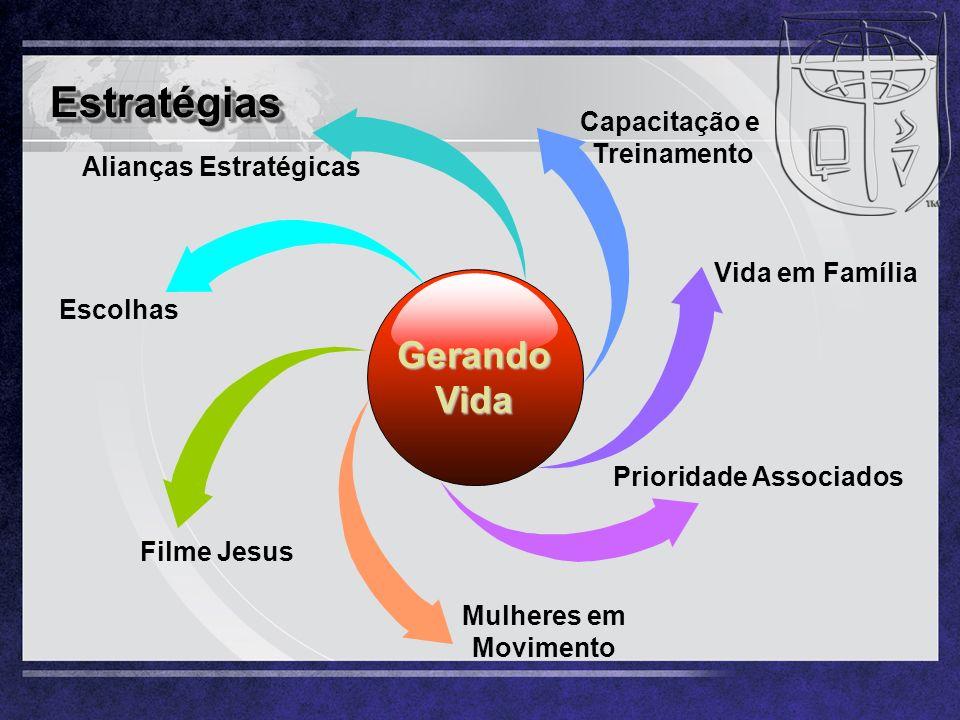 EstratégiasEstratégias Prioridade Associados Vida em Família Filme Jesus Mulheres em Movimento Capacitação e Treinamento Gerando Vida Escolhas Aliança