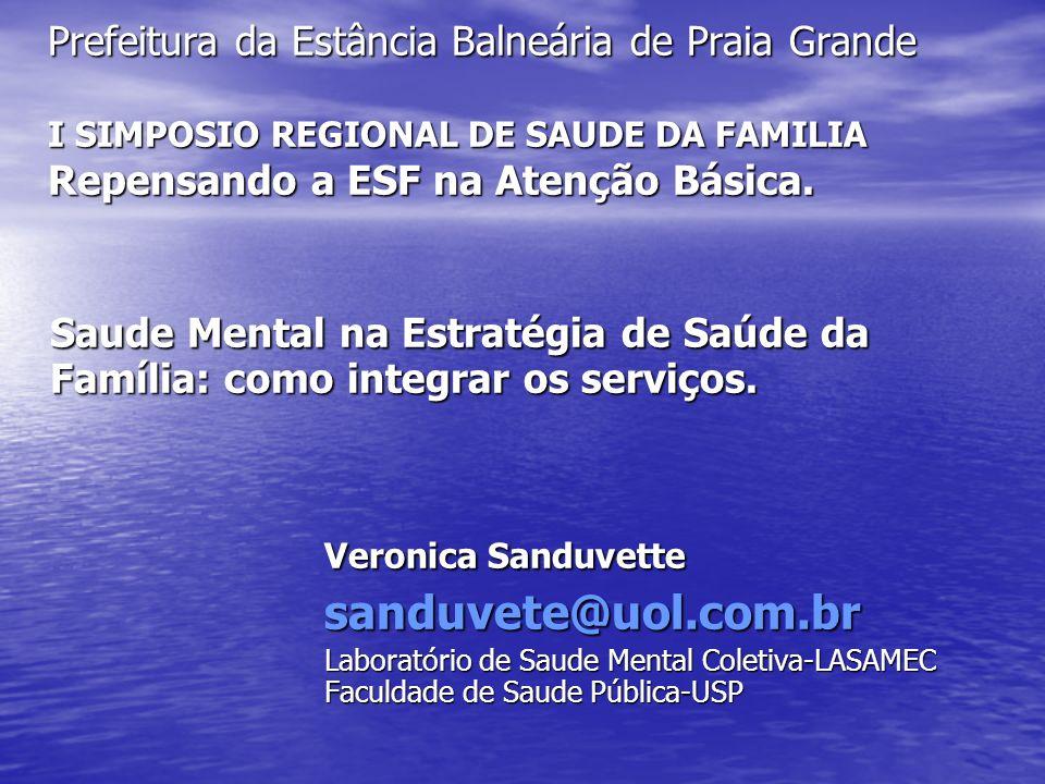 Prefeitura da Estância Balneária de Praia Grande I SIMPOSIO REGIONAL DE SAUDE DA FAMILIA Repensando a ESF na Atenção Básica. Saude Mental na Estratégi