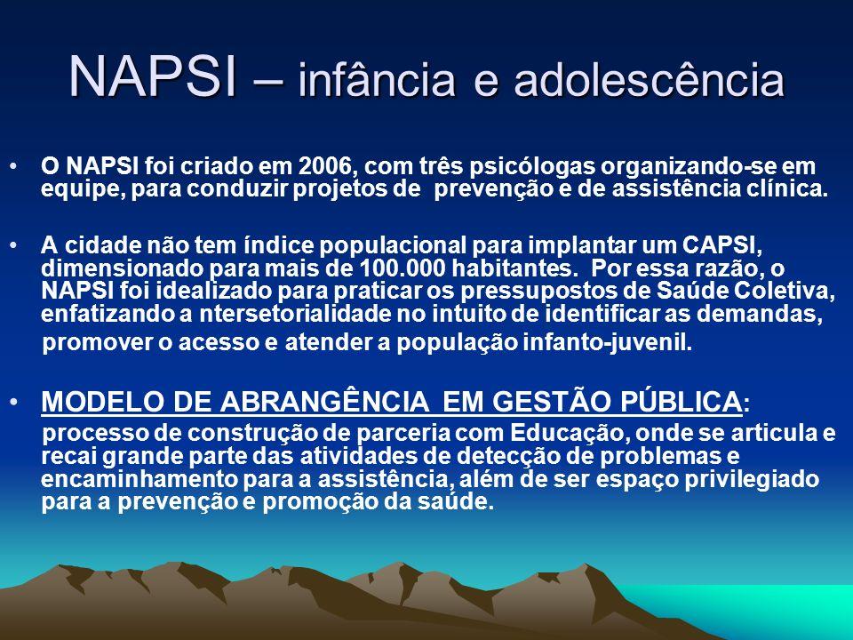 NAPSI – infância e adolescência O NAPSI foi criado em 2006, com três psicólogas organizando-se em equipe, para conduzir projetos de prevenção e de ass