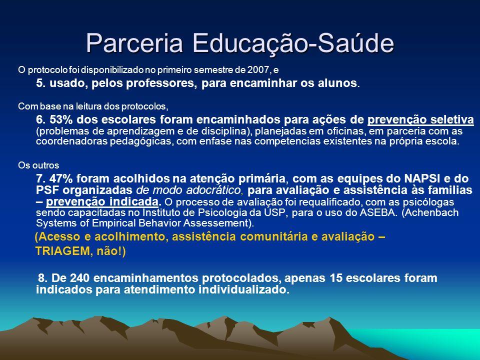 Parceria Educação-Saúde O protocolo foi disponibilizado no primeiro semestre de 2007, e 5. usado, pelos professores, para encaminhar os alunos. Com ba