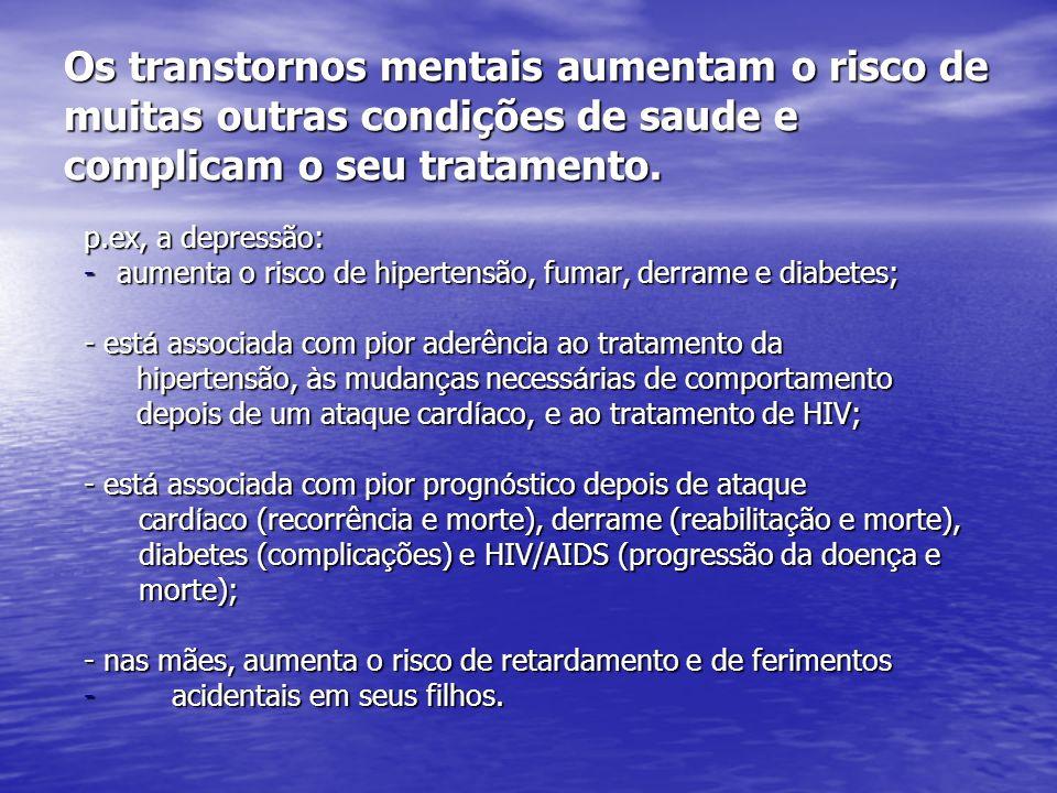 Os transtornos mentais aumentam o risco de muitas outras condições de saude e complicam o seu tratamento. p.ex, a depressão: -aumenta o risco de hiper