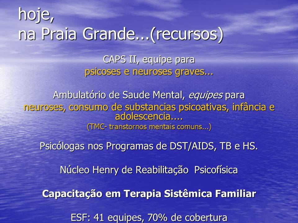 hoje, na Praia Grande...(recursos) CAPS II, equipe para psicoses e neuroses graves... Ambulatório de Saude Mental, equipes para neuroses, consumo de s