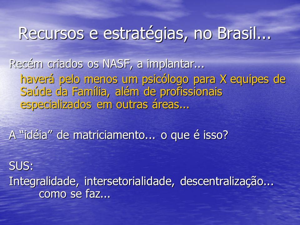 Recursos e estratégias, no Brasil... Recém criados os NASF, a implantar... haverá pelo menos um psicólogo para X equipes de Saúde da Família, além de