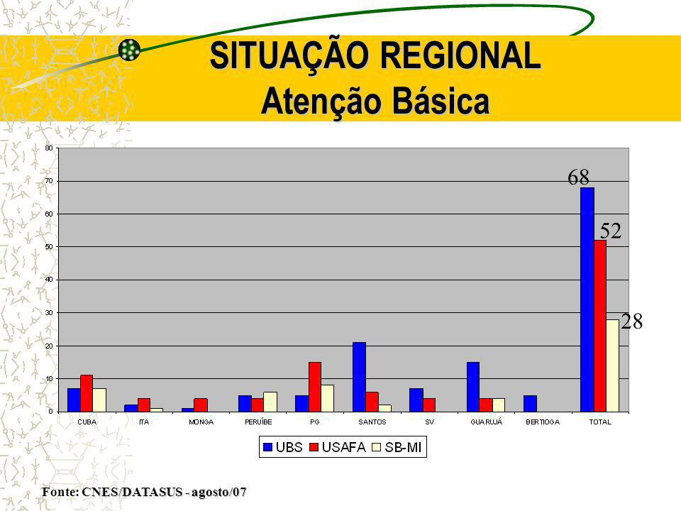 SITUAÇÃO REGIONAL Atenção Básica NES/DATASUS - agosto/07 Fonte: CNES/DATASUS - agosto/07 68 52 28