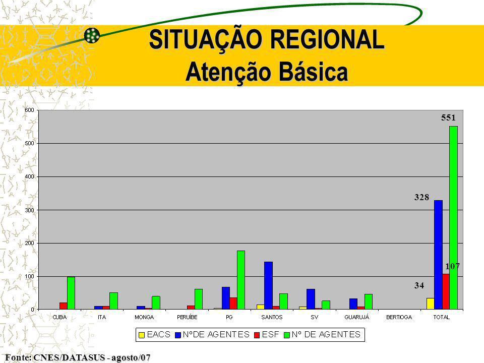 SITUAÇÃO REGIONAL Atenção Básica NES/DATASUS - agosto/07 Fonte: CNES/DATASUS - agosto/07 34 328 107 551