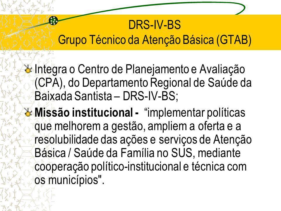 DRS-IV-BS Grupo Técnico da Atenção Básica (GTAB) Integra o Centro de Planejamento e Avaliação (CPA), do Departamento Regional de Saúde da Baixada Sant