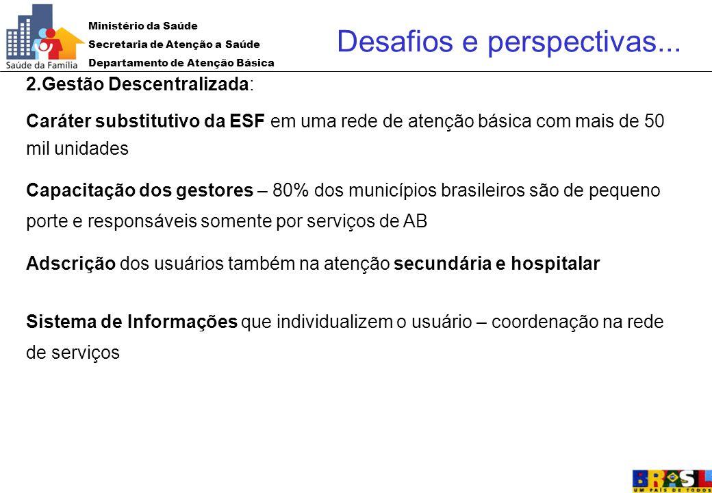 Ministério da Saúde Secretaria de Atenção a Saúde Departamento de Atenção Básica 2.Gestão Descentralizada: Caráter substitutivo da ESF em uma rede de