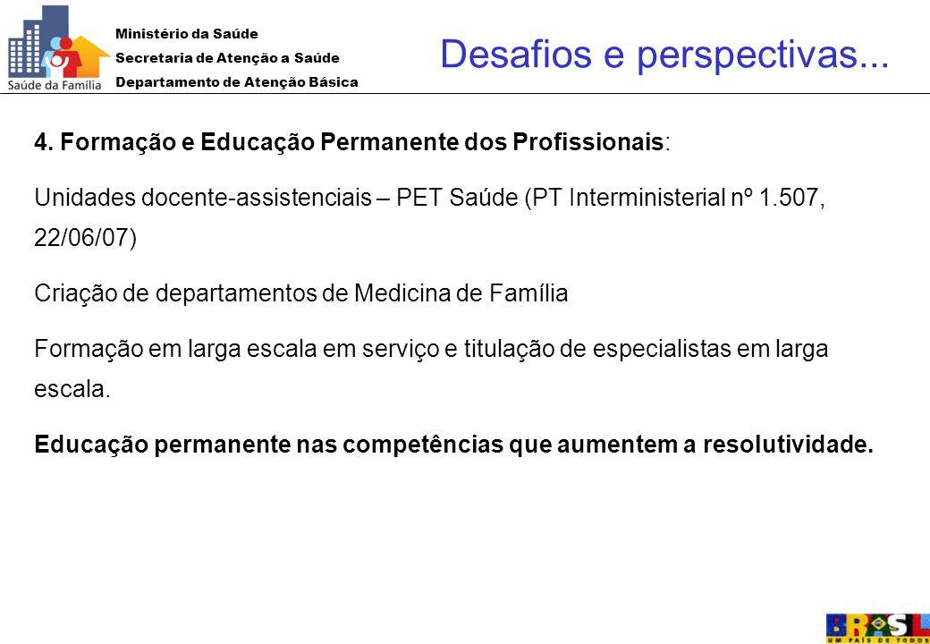 Ministério da Saúde Secretaria de Atenção a Saúde Departamento de Atenção Básica 4. Formação e Educação Permanente dos Profissionais: Unidades docente