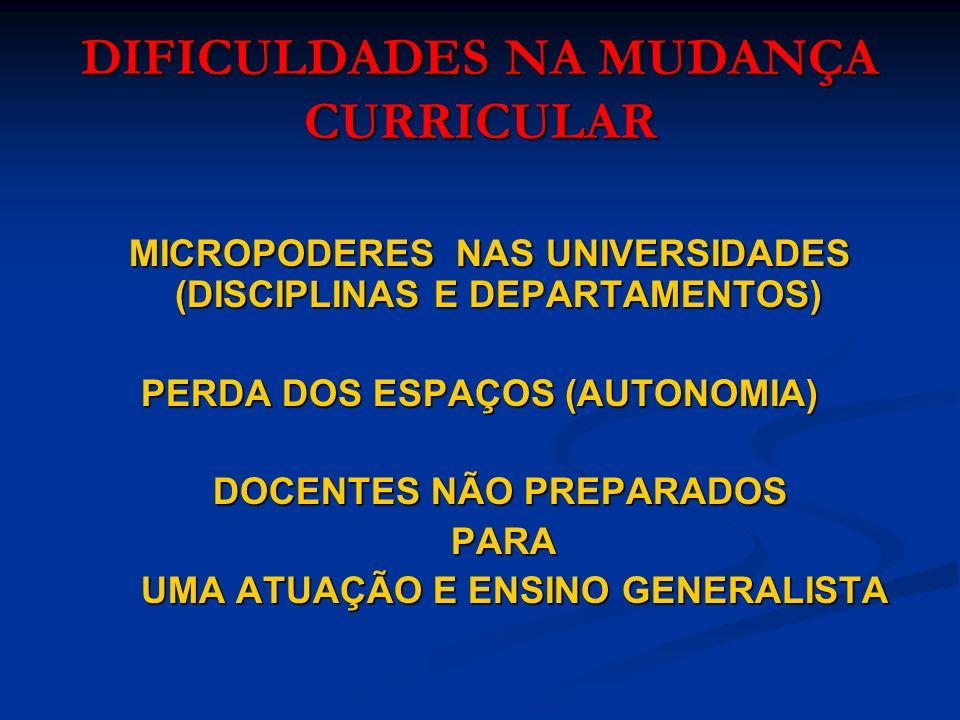 DIFICULDADES NA MUDANÇA CURRICULAR MICROPODERES NAS UNIVERSIDADES (DISCIPLINAS E DEPARTAMENTOS) MICROPODERES NAS UNIVERSIDADES (DISCIPLINAS E DEPARTAMENTOS) PERDA DOS ESPAÇOS (AUTONOMIA) PERDA DOS ESPAÇOS (AUTONOMIA) DOCENTES NÃO PREPARADOS DOCENTES NÃO PREPARADOS PARA PARA UMA ATUAÇÃO E ENSINO GENERALISTA UMA ATUAÇÃO E ENSINO GENERALISTA