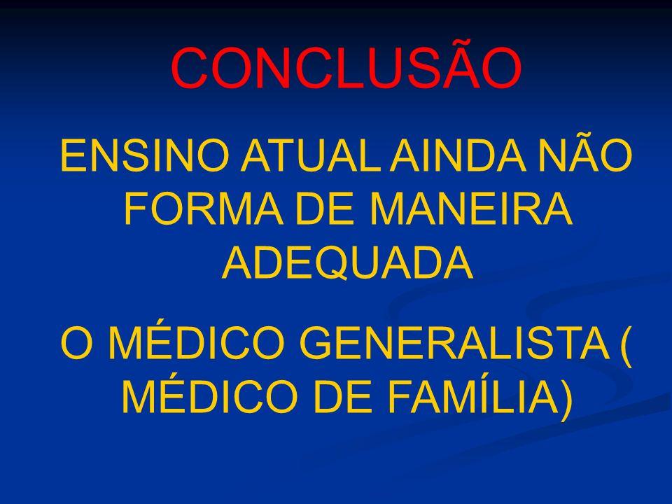 CONCLUSÃO ENSINO ATUAL AINDA NÃO FORMA DE MANEIRA ADEQUADA O MÉDICO GENERALISTA ( MÉDICO DE FAMÍLIA)
