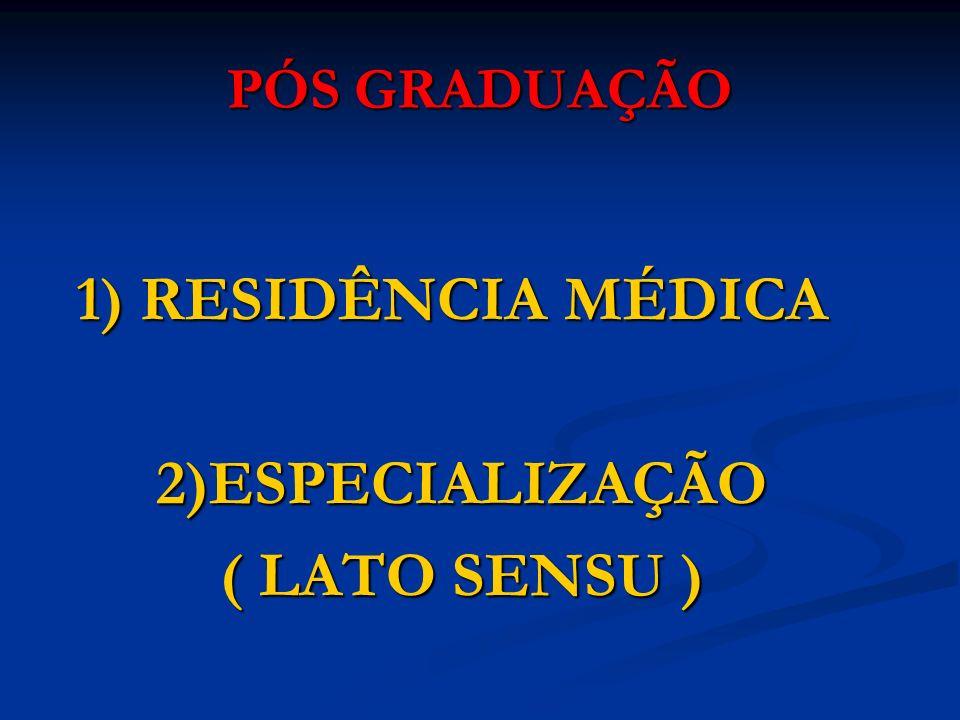 PÓS GRADUAÇÃO 1) RESIDÊNCIA MÉDICA 1) RESIDÊNCIA MÉDICA 2)ESPECIALIZAÇÃO 2)ESPECIALIZAÇÃO ( LATO SENSU ) ( LATO SENSU )