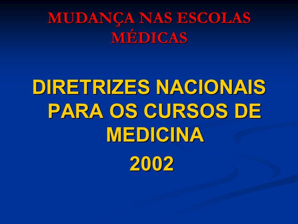 MUDANÇA NAS ESCOLAS MÉDICAS DIRETRIZES NACIONAIS PARA OS CURSOS DE MEDICINA 2002 2002