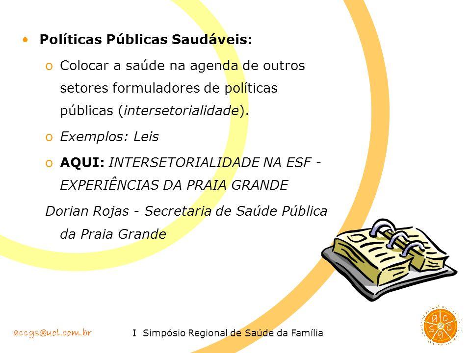 accgs@uol.com.br I Simpósio Regional de Saúde da Família Políticas Públicas Saudáveis: oColocar a saúde na agenda de outros setores formuladores de po