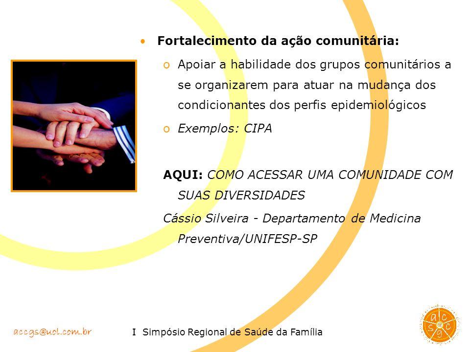 accgs@uol.com.br I Simpósio Regional de Saúde da Família Fortalecimento da ação comunitária: oApoiar a habilidade dos grupos comunitários a se organiz