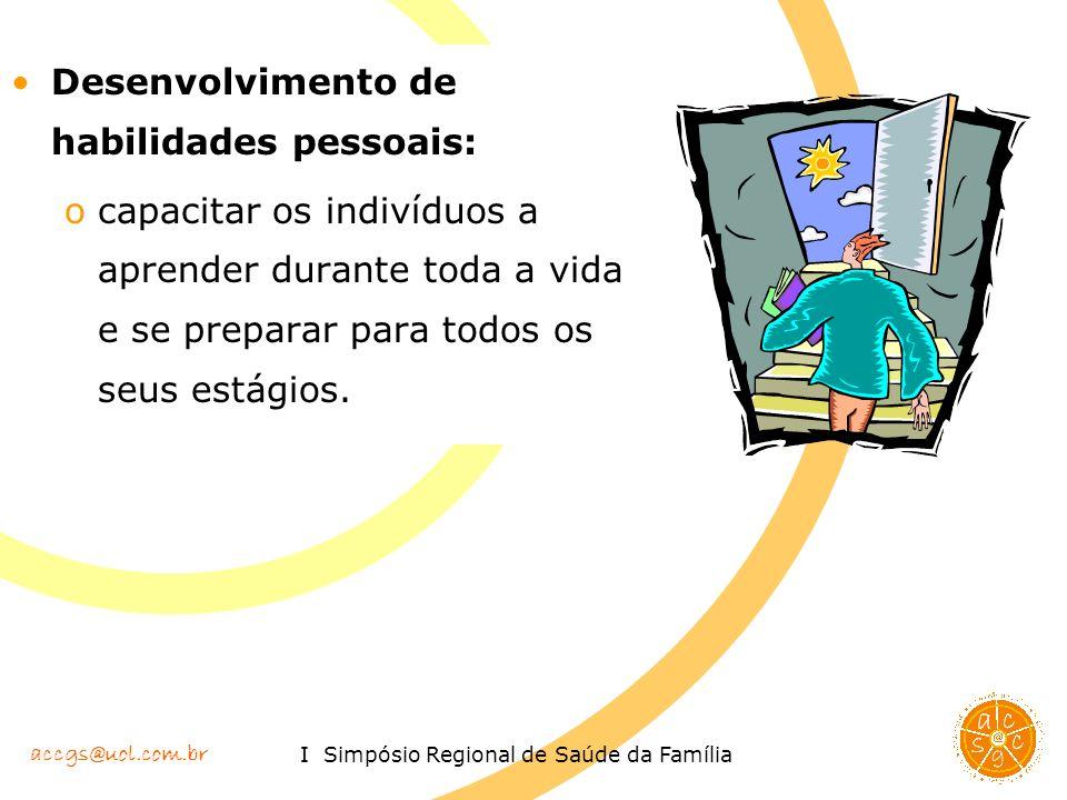 accgs@uol.com.br I Simpósio Regional de Saúde da Família Desenvolvimento de habilidades pessoais: ocapacitar os indivíduos a aprender durante toda a v
