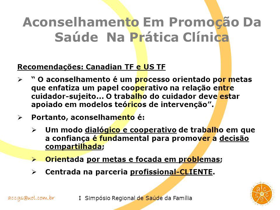accgs@uol.com.br I Simpósio Regional de Saúde da Família Aconselhamento Em Promoção Da Saúde Na Prática Clínica Recomendações: Canadian TF e US TF O a