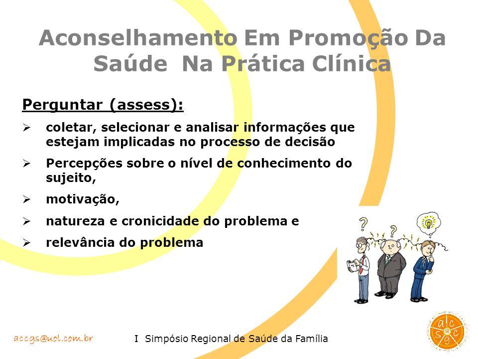 accgs@uol.com.br I Simpósio Regional de Saúde da Família Aconselhamento Em Promoção Da Saúde Na Prática Clínica Perguntar (assess): coletar, seleciona