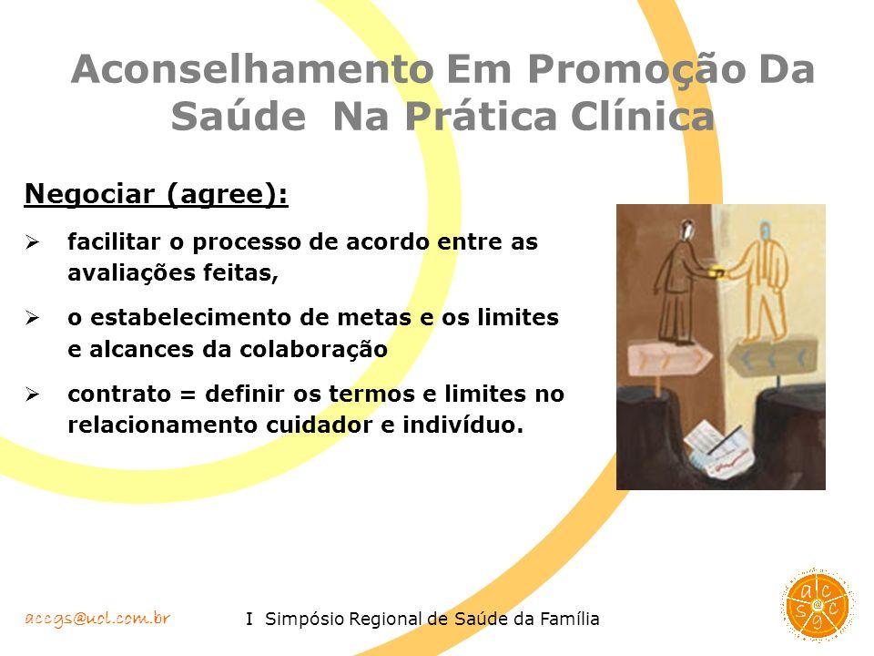 accgs@uol.com.br I Simpósio Regional de Saúde da Família Aconselhamento Em Promoção Da Saúde Na Prática Clínica Negociar (agree): facilitar o processo