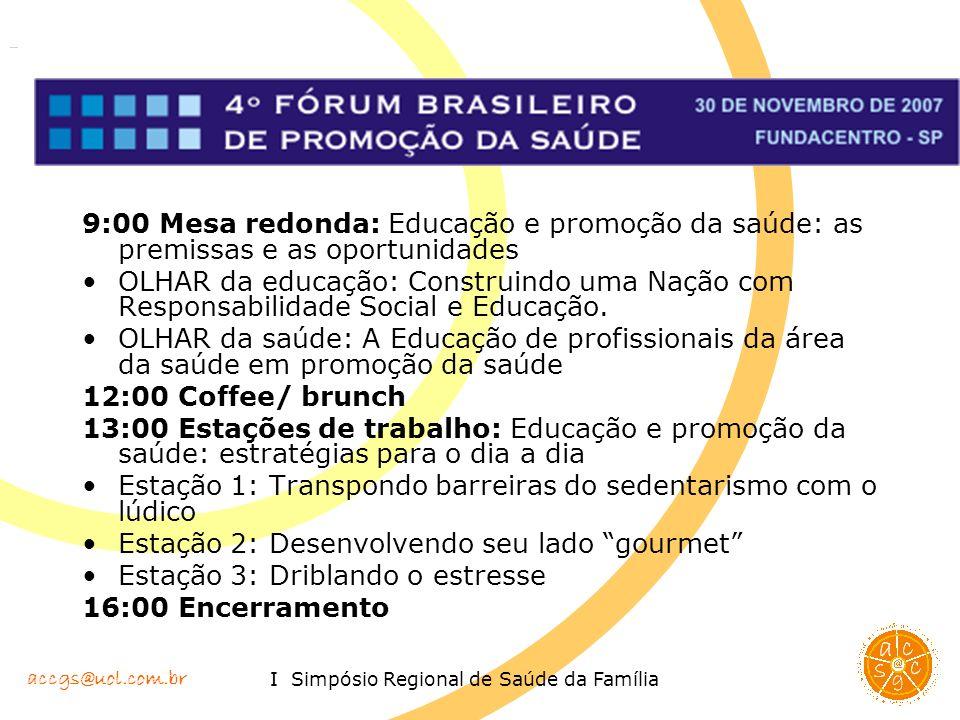 accgs@uol.com.br I Simpósio Regional de Saúde da Família 9:00 Mesa redonda: Educação e promoção da saúde: as premissas e as oportunidades OLHAR da edu