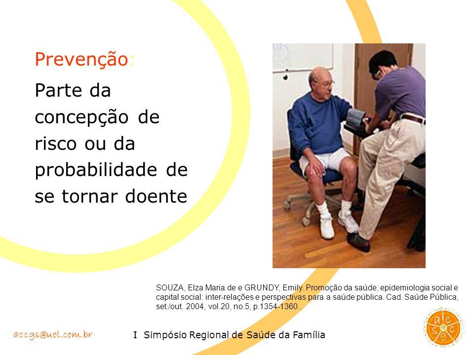 accgs@uol.com.br I Simpósio Regional de Saúde da Família Prevenção: Parte da concepção de risco ou da probabilidade de se tornar doente SOUZA, Elza Ma
