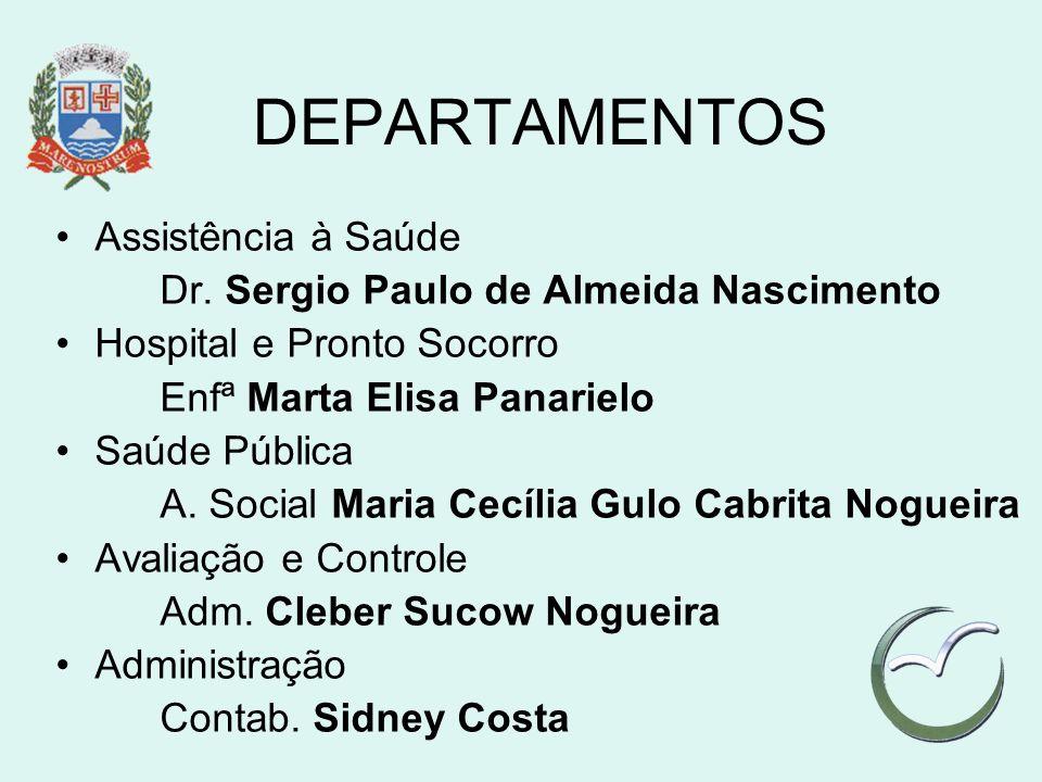 DEPARTAMENTOS Assistência à Saúde Dr. Sergio Paulo de Almeida Nascimento Hospital e Pronto Socorro Enfª Marta Elisa Panarielo Saúde Pública A. Social