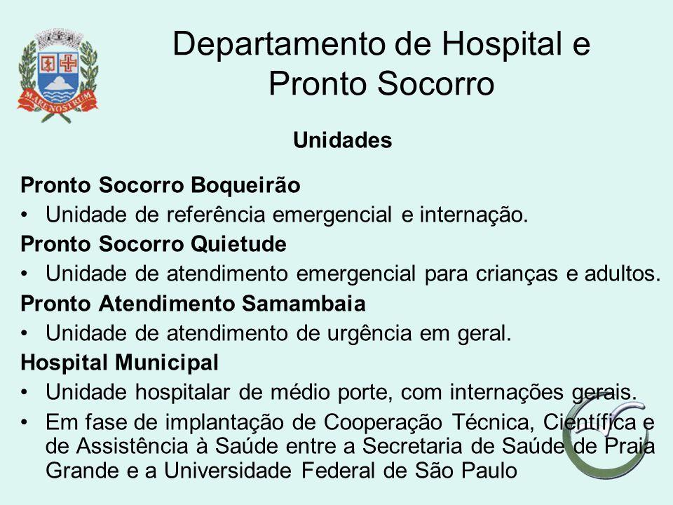 Departamento de Hospital e Pronto Socorro Unidades Pronto Socorro Boqueirão Unidade de referência emergencial e internação. Pronto Socorro Quietude Un