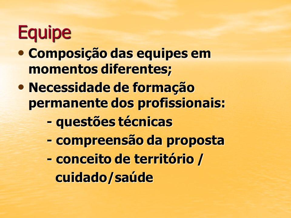 Equipe Composição das equipes em momentos diferentes; Composição das equipes em momentos diferentes; Necessidade de formação permanente dos profission