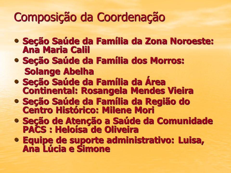 Composição da Coordenação Seção Saúde da Família da Zona Noroeste: Ana Maria Calil Seção Saúde da Família da Zona Noroeste: Ana Maria Calil Seção Saúd