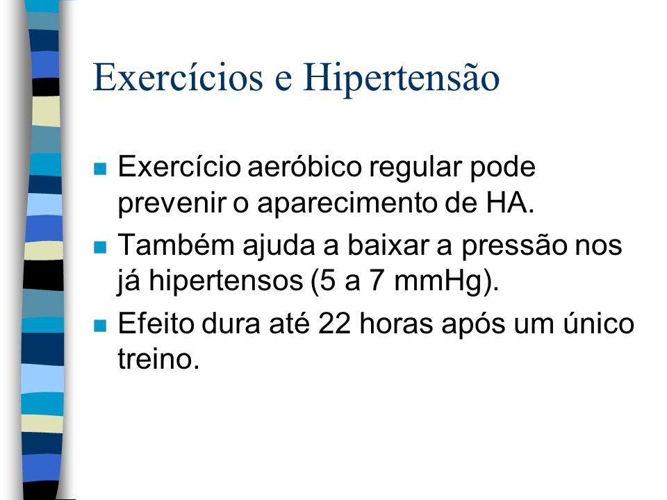 Exercícios e Hipertensão n Exercício aeróbico regular pode prevenir o aparecimento de HA.