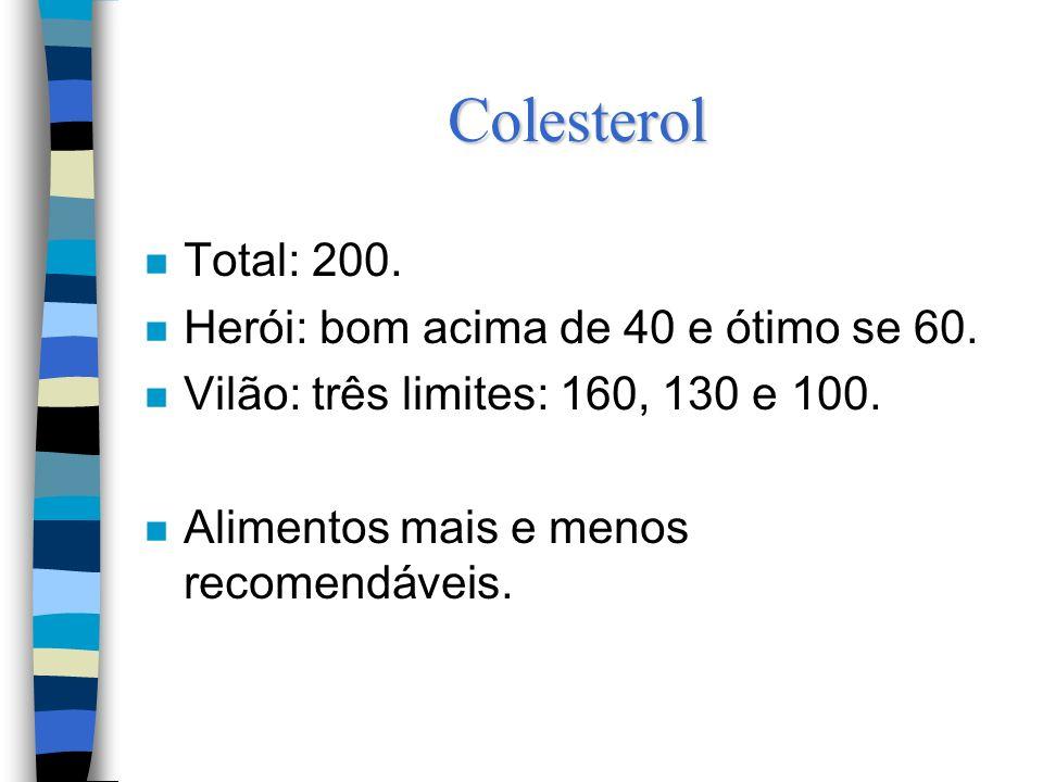 Colesterol n Total: 200.n Herói: bom acima de 40 e ótimo se 60.