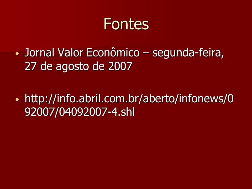 Fontes Jornal Valor Econômico – segunda-feira, 27 de agosto de 2007 Jornal Valor Econômico – segunda-feira, 27 de agosto de 2007 http://info.abril.com.br/aberto/infonews/0 92007/04092007-4.shl http://info.abril.com.br/aberto/infonews/0 92007/04092007-4.shl