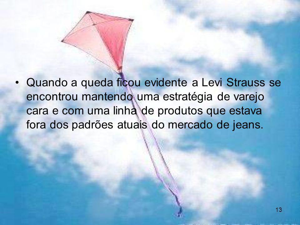 13 Quando a queda ficou evidente a Levi Strauss se encontrou mantendo uma estratégia de varejo cara e com uma linha de produtos que estava fora dos pa