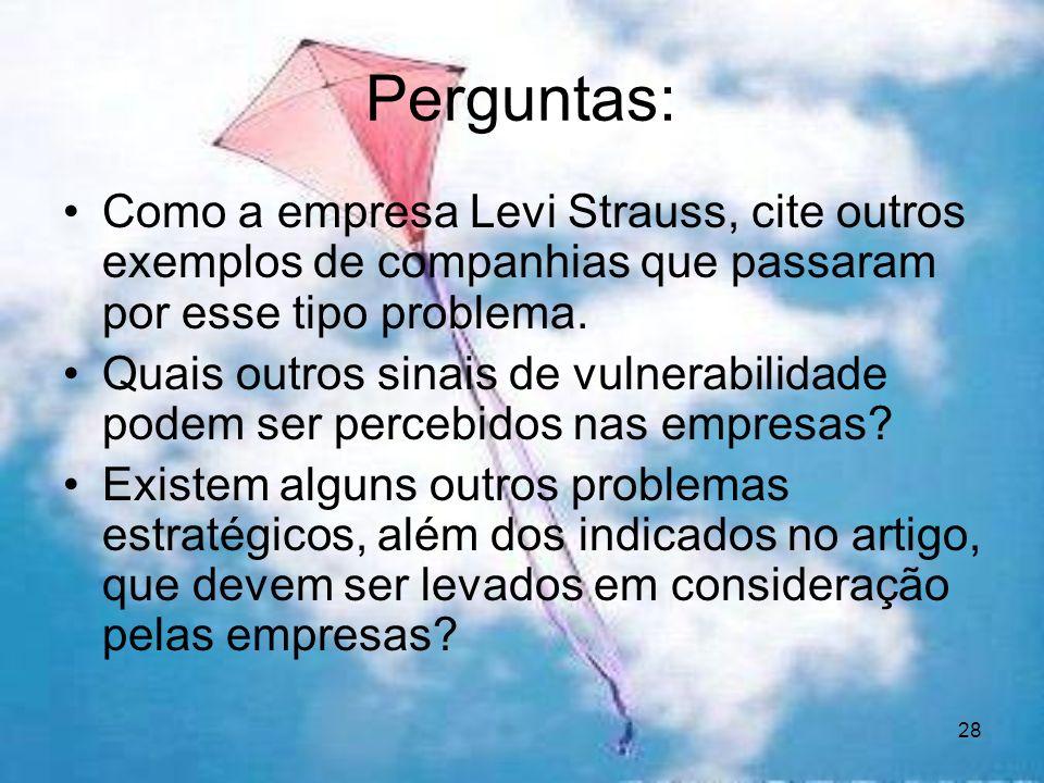28 Perguntas: Como a empresa Levi Strauss, cite outros exemplos de companhias que passaram por esse tipo problema. Quais outros sinais de vulnerabilid