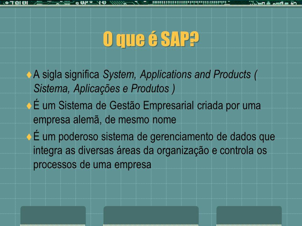 O que é SAP? A sigla significa System, Applications and Products ( Sistema, Aplicações e Produtos ) É um Sistema de Gestão Empresarial criada por uma