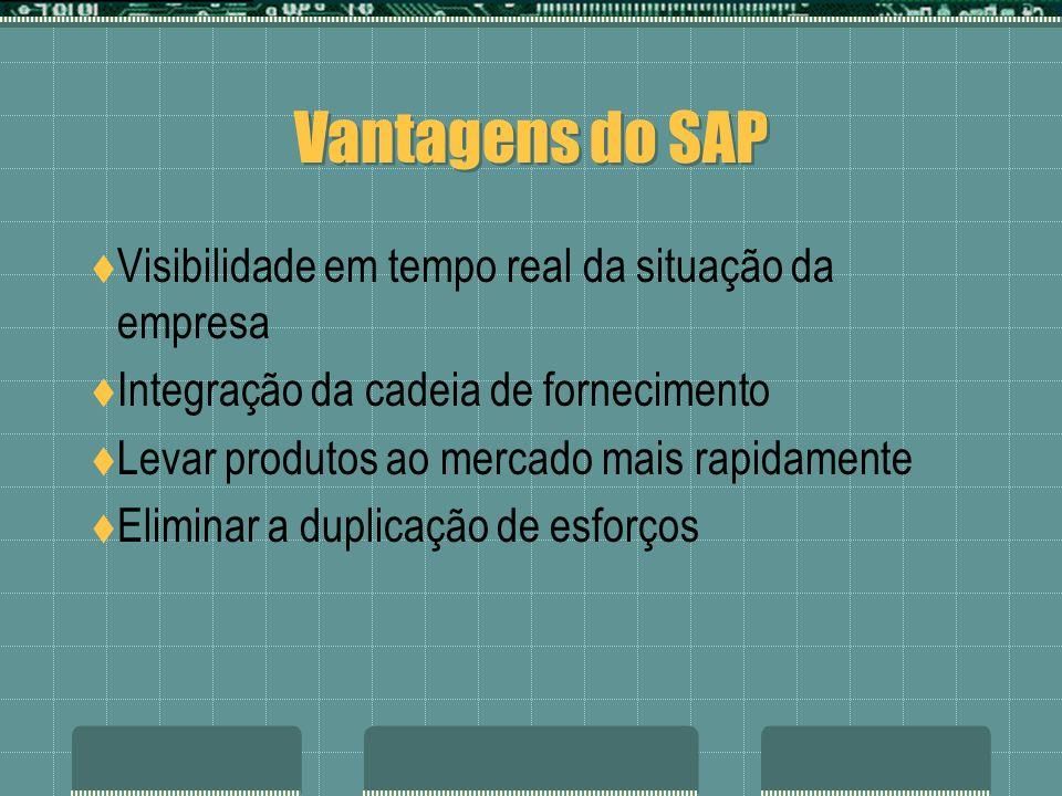 Vantagens do SAP Visibilidade em tempo real da situação da empresa Integração da cadeia de fornecimento Levar produtos ao mercado mais rapidamente Eli