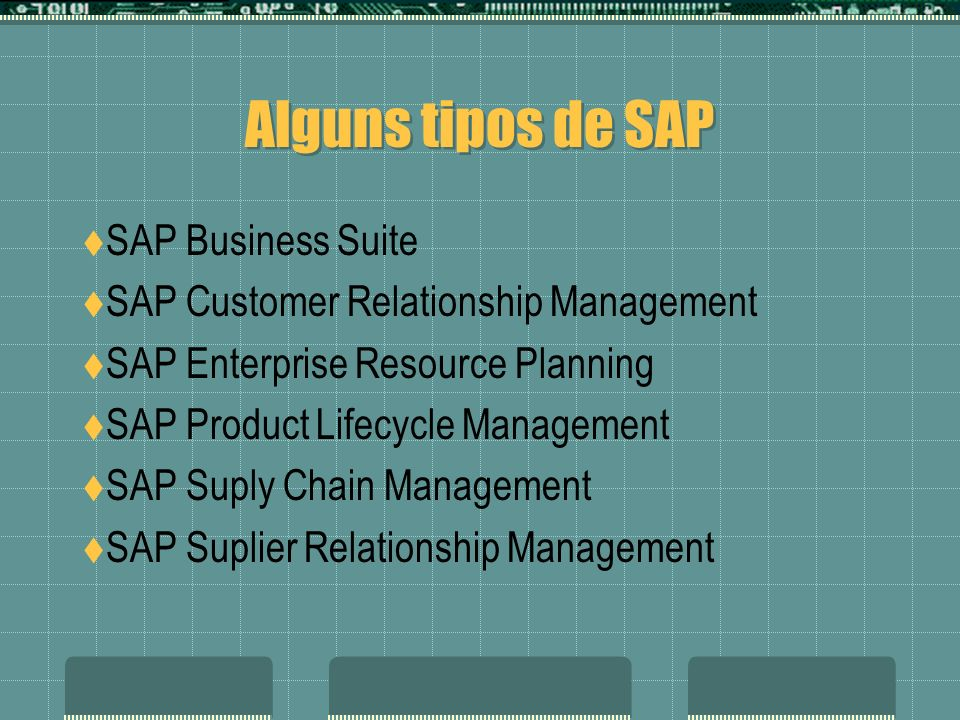 Alguns tipos de SAP SAP Business Suite SAP Customer Relationship Management SAP Enterprise Resource Planning SAP Product Lifecycle Management SAP Supl