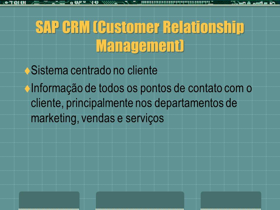 SAP CRM (Customer Relationship Management) Sistema centrado no cliente Informação de todos os pontos de contato com o cliente, principalmente nos depa