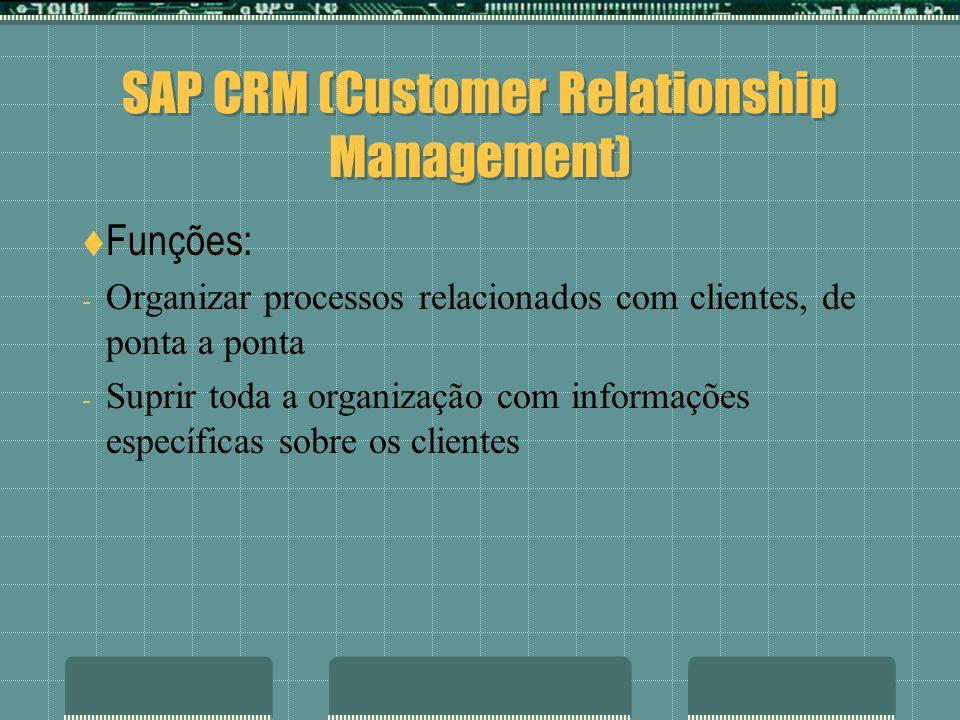 SAP CRM (Customer Relationship Management) Funções: - Organizar processos relacionados com clientes, de ponta a ponta - Suprir toda a organização com