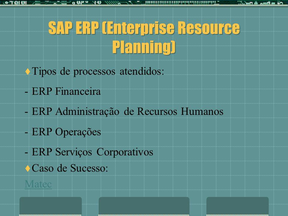 SAP ERP (Enterprise Resource Planning) Tipos de processos atendidos: -ERP Financeira -ERP Administração de Recursos Humanos -ERP Operações -ERP Serviç