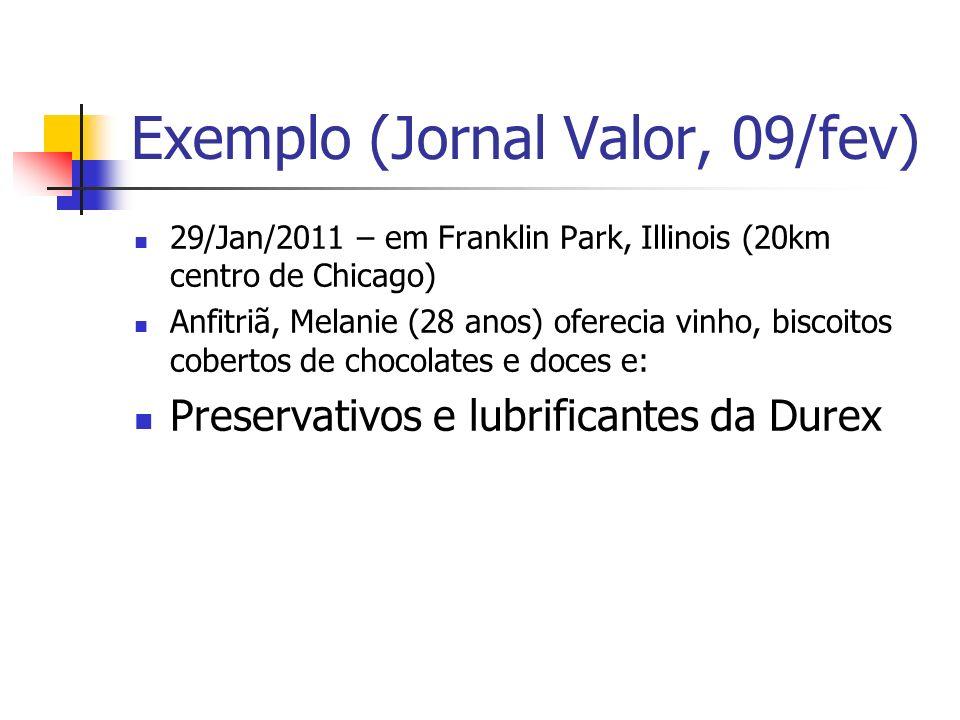 Exemplo (Jornal Valor, 09/fev) 29/Jan/2011 – em Franklin Park, Illinois (20km centro de Chicago) Anfitriã, Melanie (28 anos) oferecia vinho, biscoitos