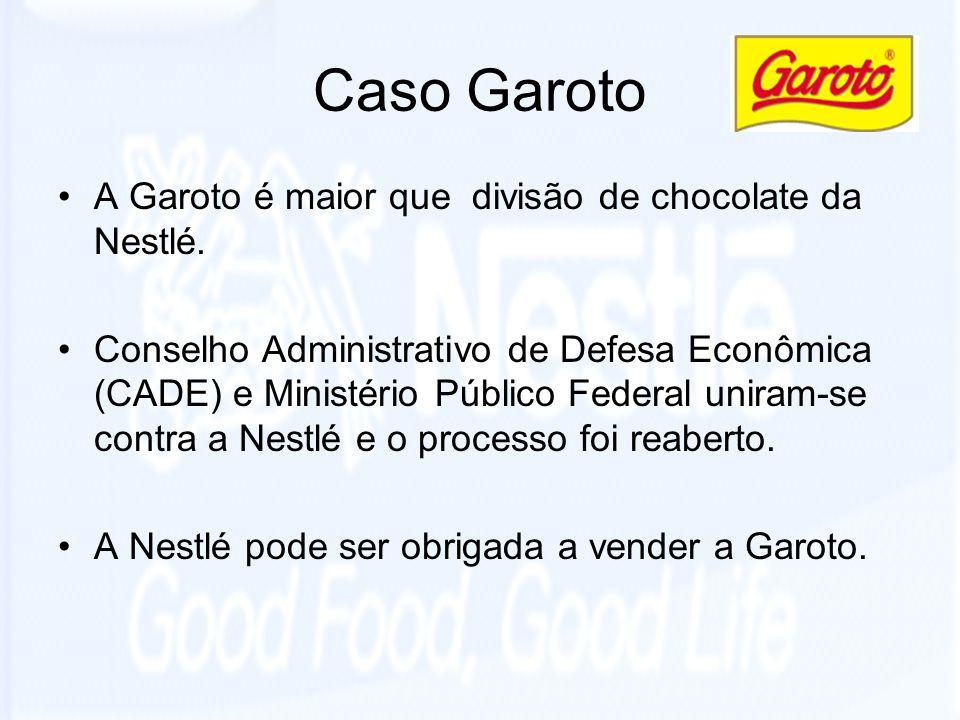 Caso Garoto A Garoto é maior que divisão de chocolate da Nestlé. Conselho Administrativo de Defesa Econômica (CADE) e Ministério Público Federal unira