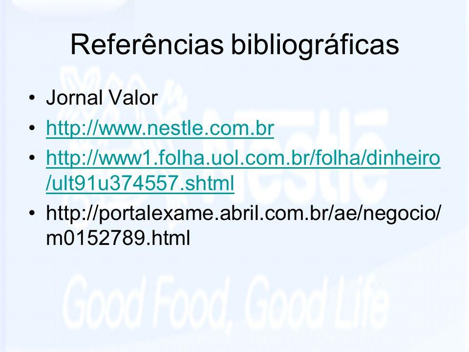 Referências bibliográficas Jornal Valor http://www.nestle.com.br http://www1.folha.uol.com.br/folha/dinheiro /ult91u374557.shtmlhttp://www1.folha.uol.