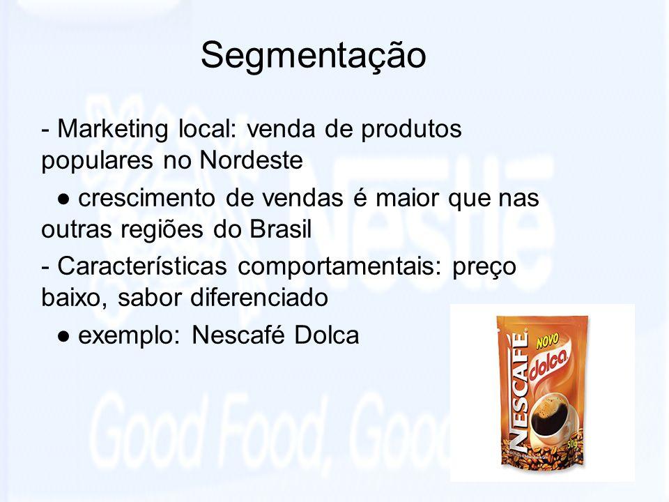 Segmentação - Marketing local: venda de produtos populares no Nordeste crescimento de vendas é maior que nas outras regiões do Brasil - Característica