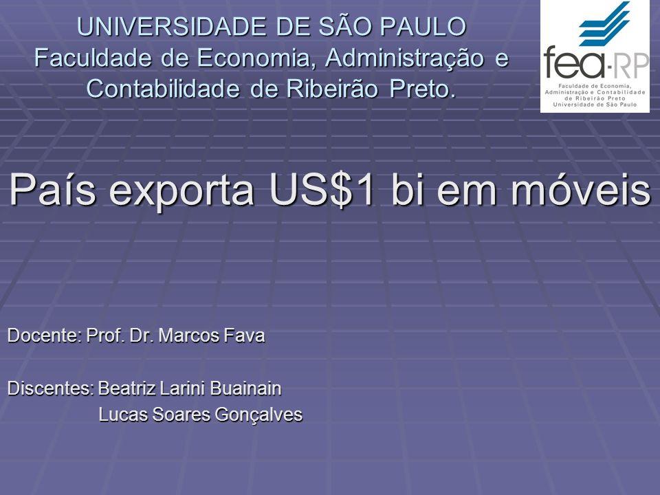 UNIVERSIDADE DE SÃO PAULO Faculdade de Economia, Administração e Contabilidade de Ribeirão Preto. País exporta US$1 bi em móveis Docente: Prof. Dr. Ma