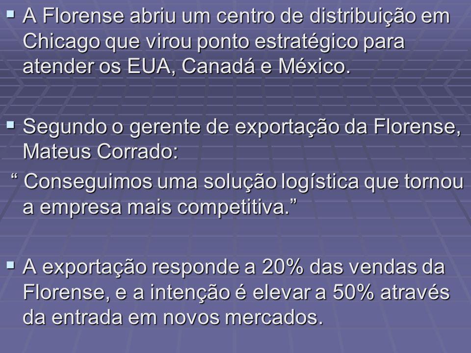 A Florense abriu um centro de distribuição em Chicago que virou ponto estratégico para atender os EUA, Canadá e México. A Florense abriu um centro de