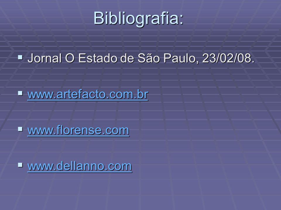 Bibliografia: Jornal O Estado de São Paulo, 23/02/08. Jornal O Estado de São Paulo, 23/02/08. www.artefacto.com.br www.artefacto.com.br www.artefacto.