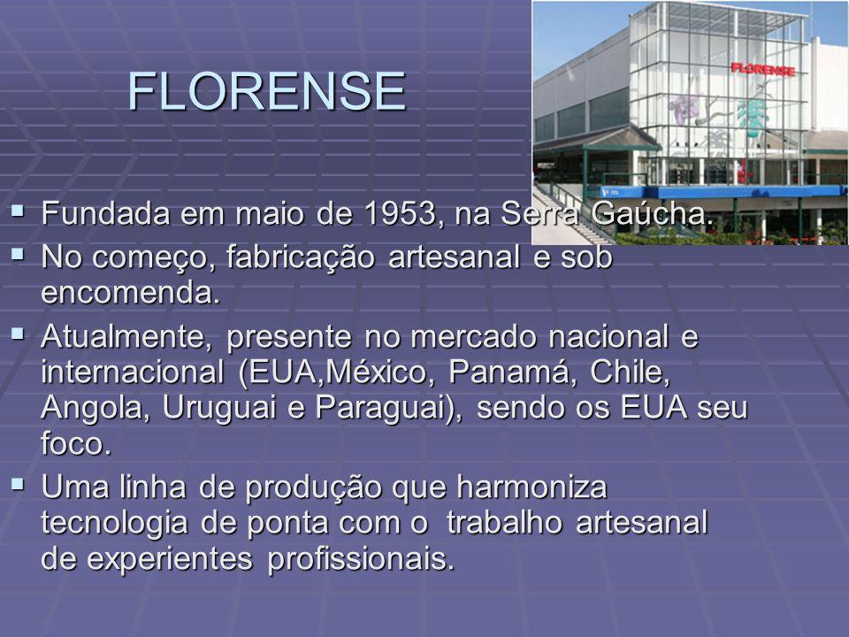FLORENSE Fundada em maio de 1953, na Serra Gaúcha. Fundada em maio de 1953, na Serra Gaúcha. No começo, fabricação artesanal e sob encomenda. No começ