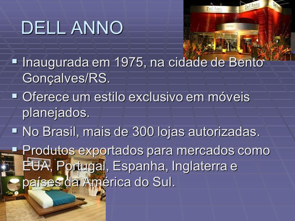 DELL ANNO Inaugurada em 1975, na cidade de Bento Gonçalves/RS. Inaugurada em 1975, na cidade de Bento Gonçalves/RS. Oferece um estilo exclusivo em móv