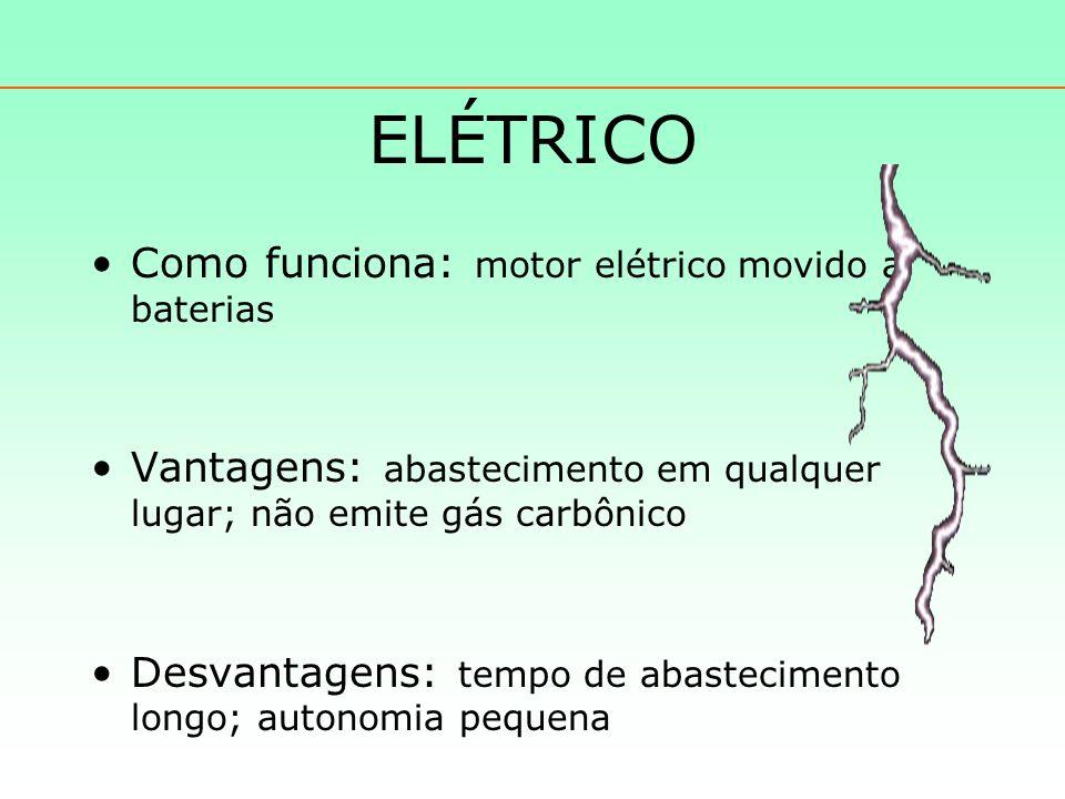 ELÉTRICO Como funciona: motor elétrico movido a baterias Vantagens: abastecimento em qualquer lugar; não emite gás carbônico Desvantagens: tempo de abastecimento longo; autonomia pequena